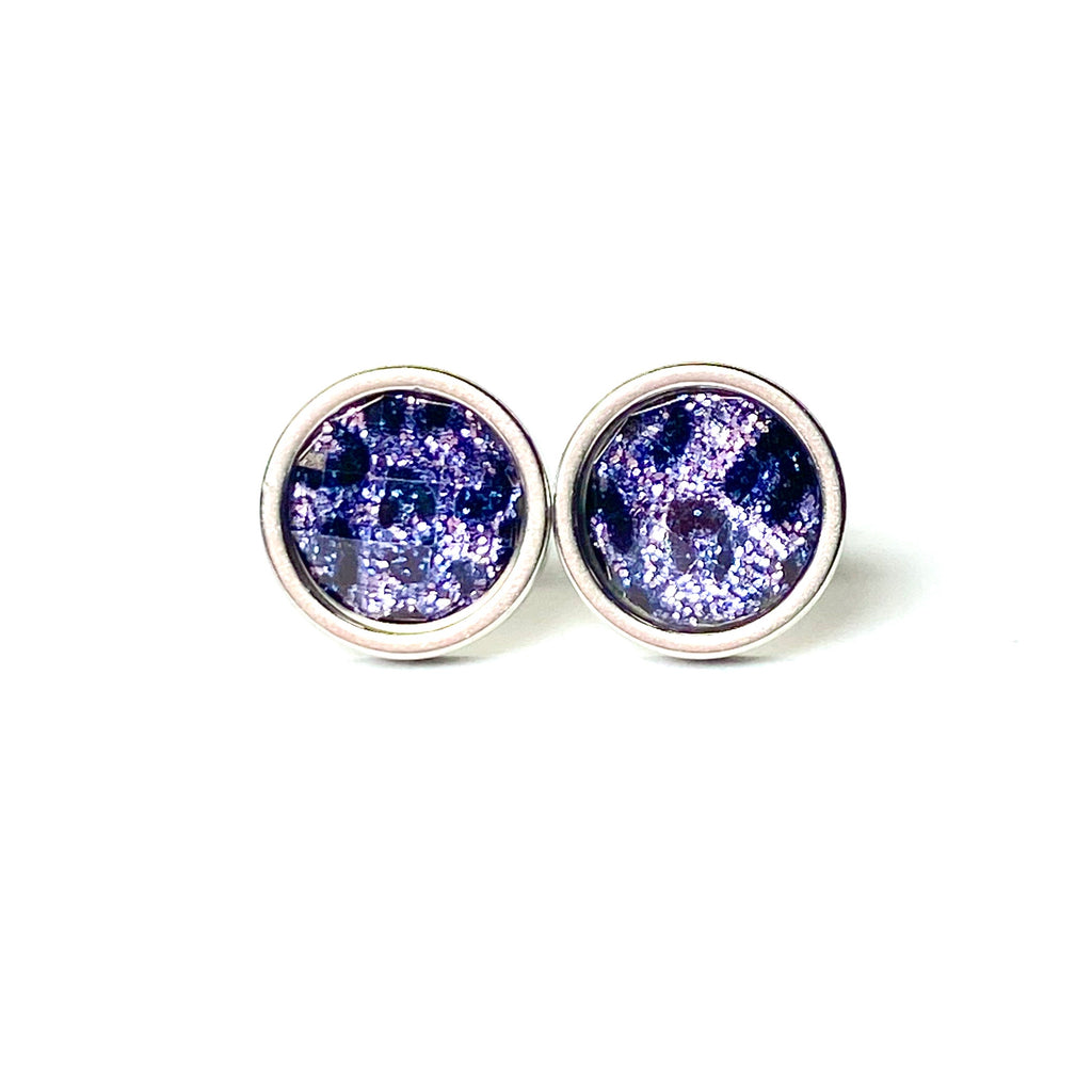 Purple Leopard Stud Earrings 8mm
