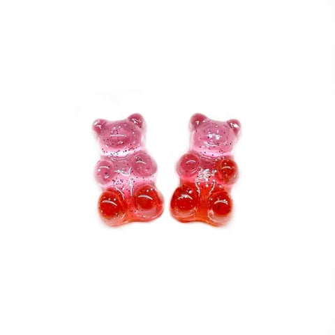 Pink and Red Glitter Gummy Bear Earrings