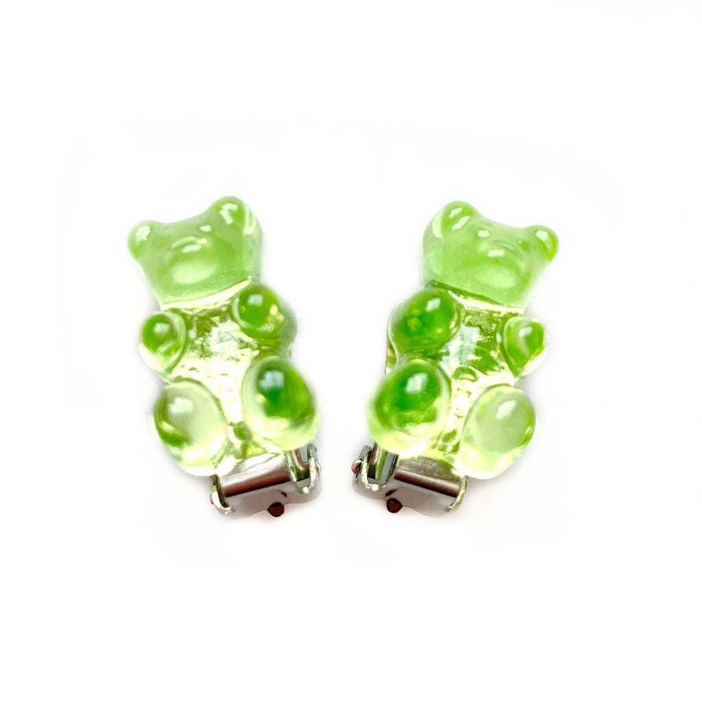 Green Gummy Bear Clip On Earrings