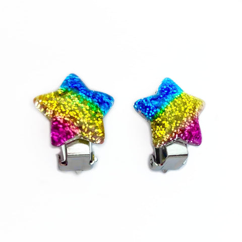 Rainbow Glitter Star Clip On Earrings