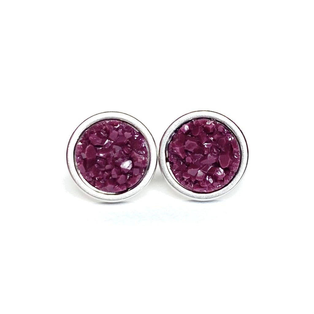 Plum Druzy Stud 8mm Earrings