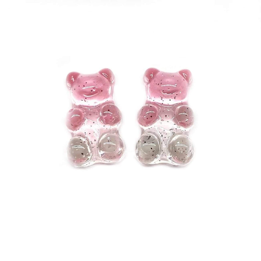 Pink and Crystal Gummy Bear Earrings