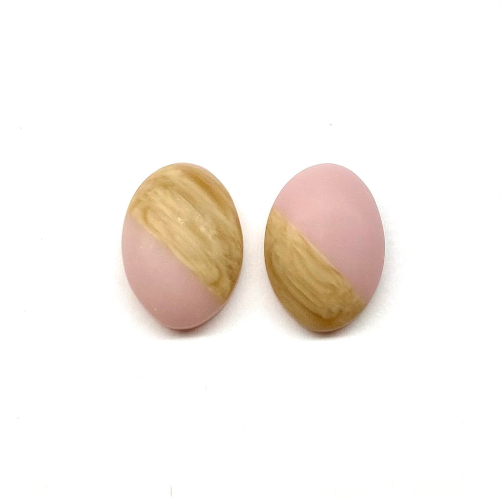Blush Oval Wood Stud Earrings