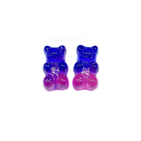Royal Blue and Pink Gummy Bear Earrings