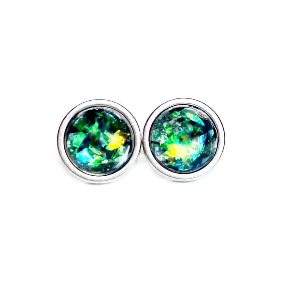 Black Opal Stud Earrings 8mm