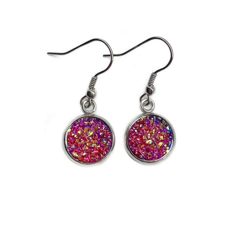 Deep Red Druzy Drop Earrings