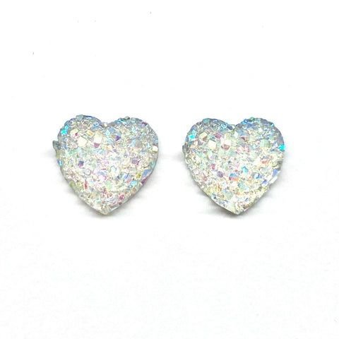 Unicorn Druzy Heart Earrings