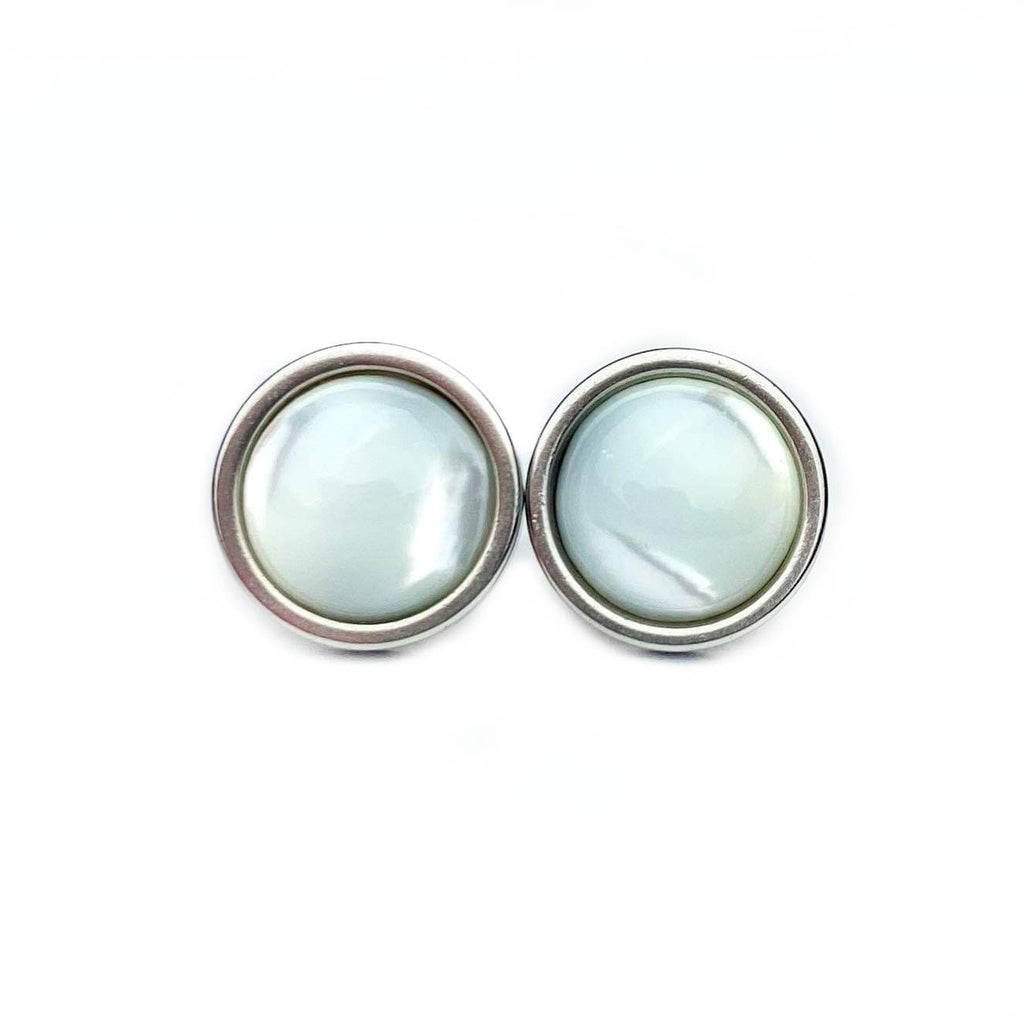 Shell Luxury Gemstone Stud Earrings 8mm