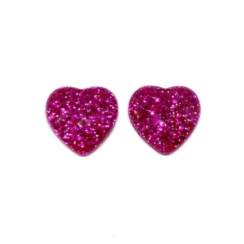 Hot Pink Glitter Heart Earrings