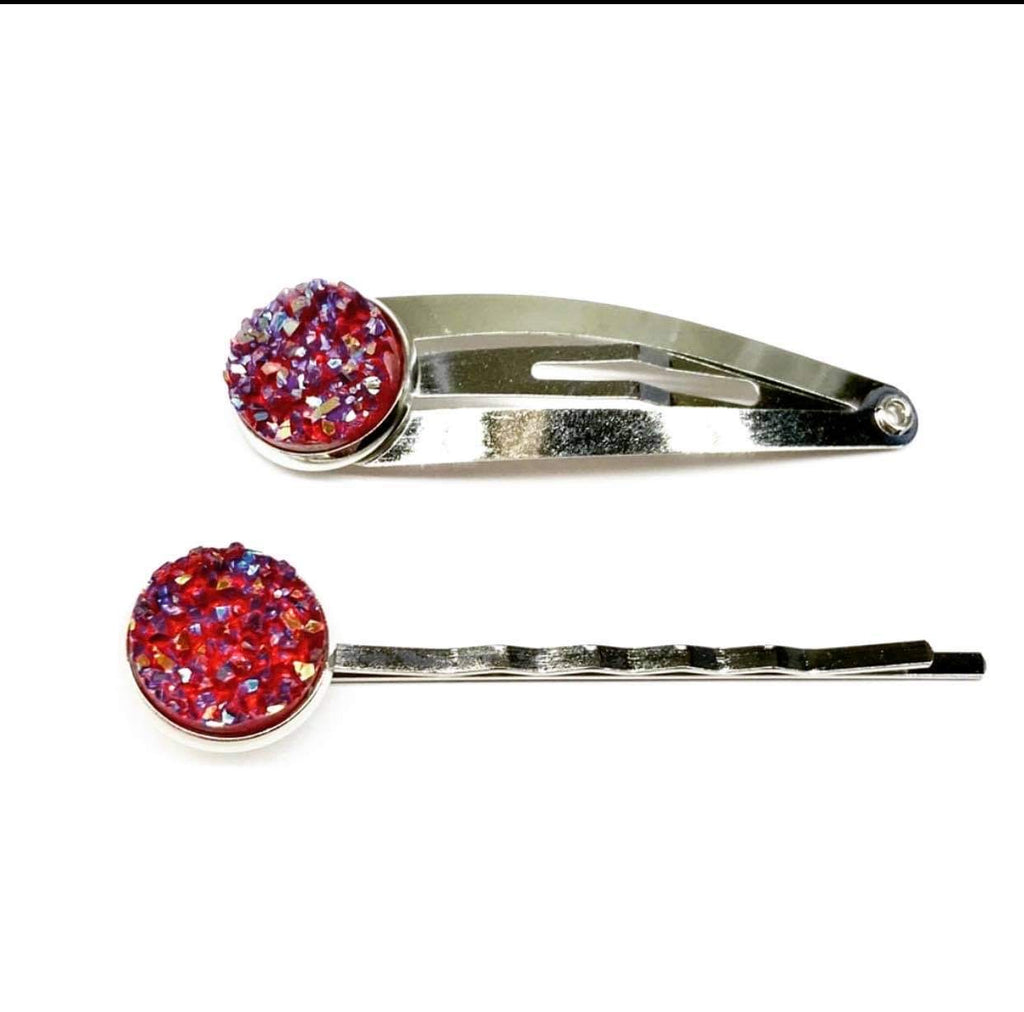 Red Druzy Snap Clip or Bobby Pin