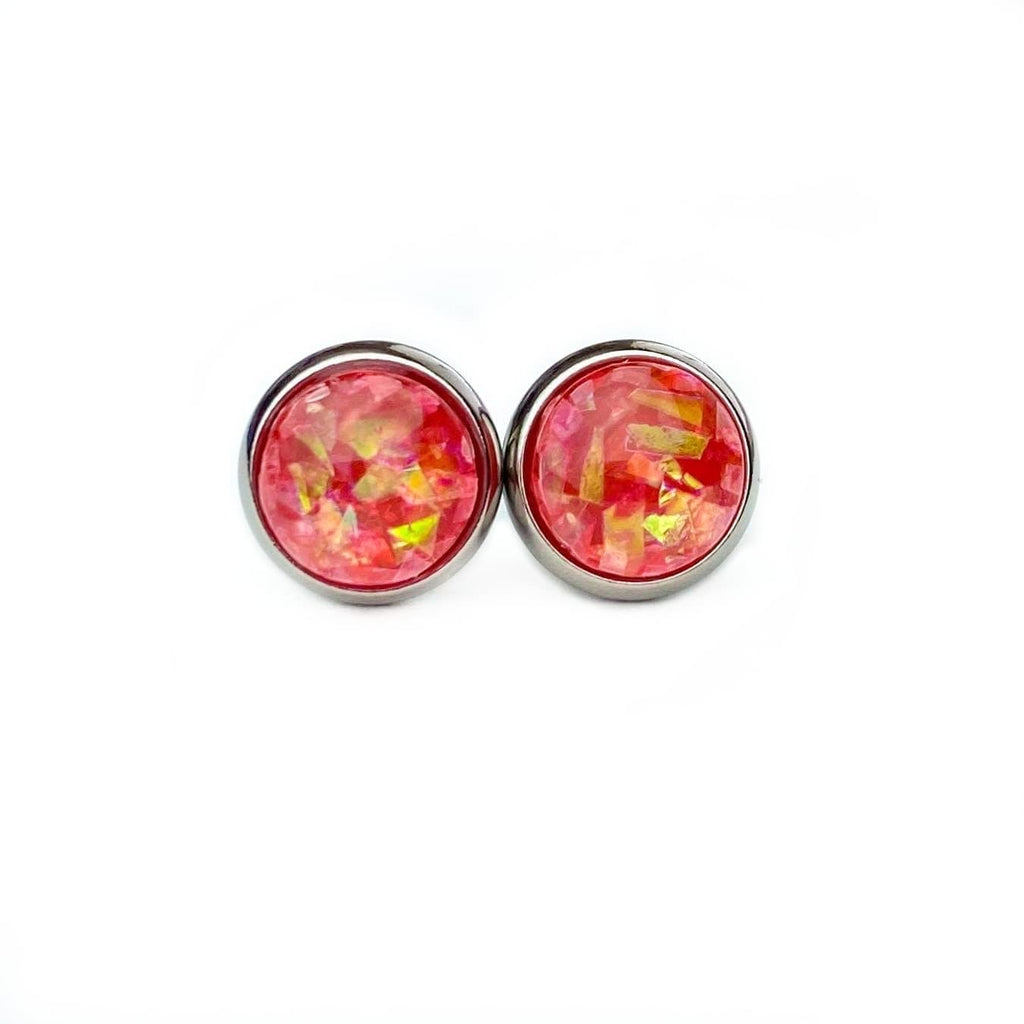 Fire Opal Stud Earrings 8mm