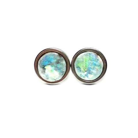 Grey Opal Stud Earrings 8mm
