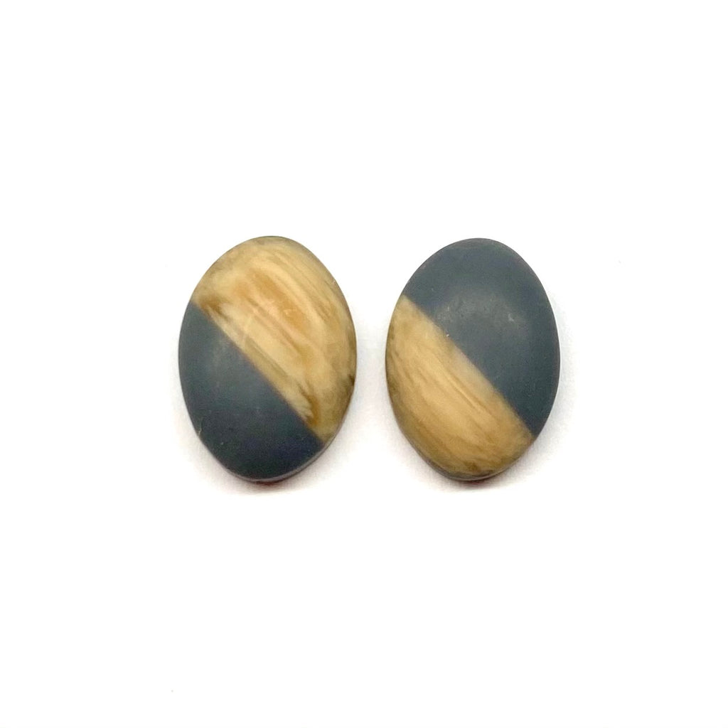 Grey Oval Wood Stud Earrings