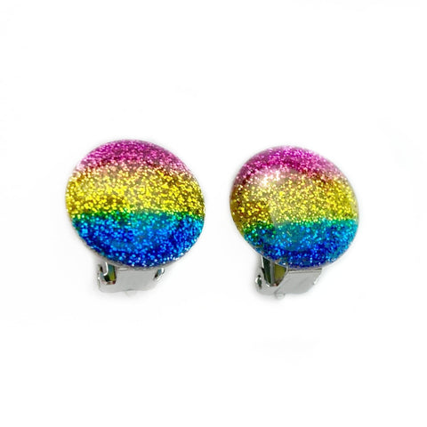 Rainbow Glitter Clip On Earrings