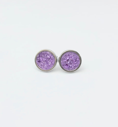 Lilac Druzy Stud 8mm Earrings