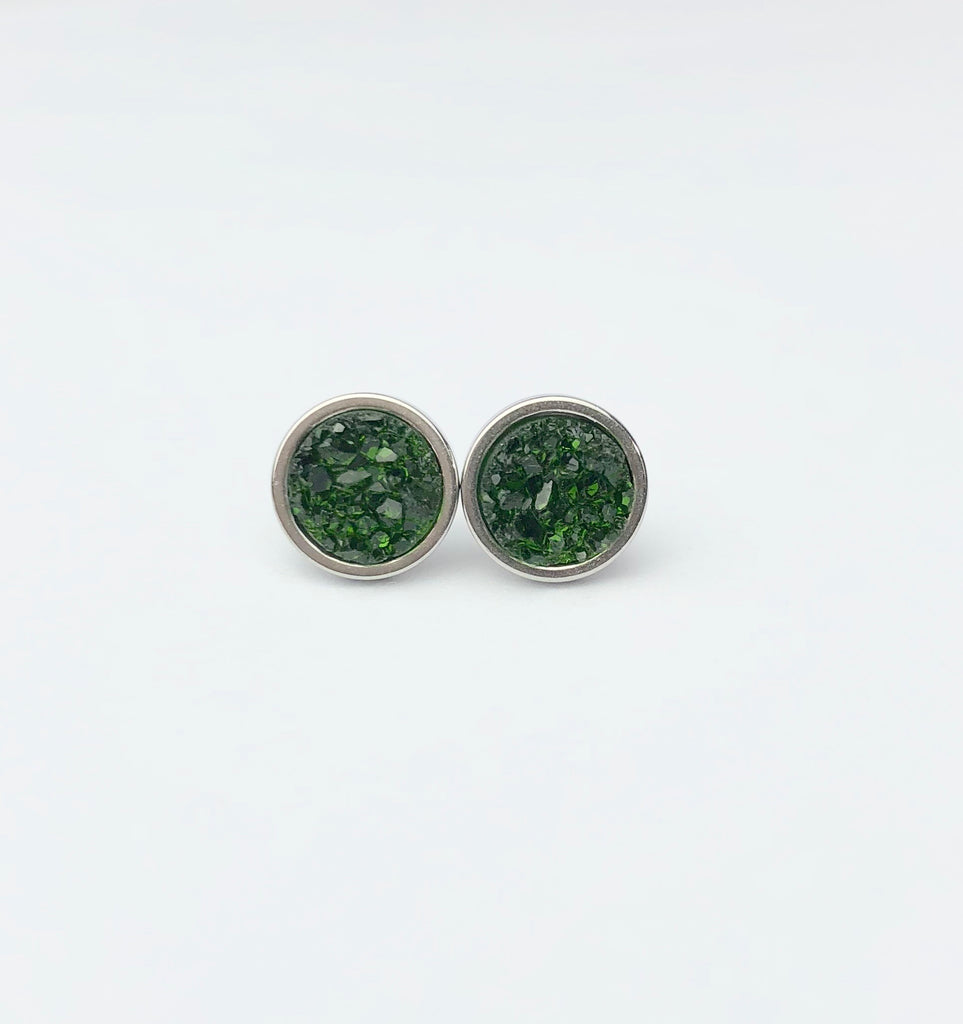 Olive Green Druzy Stud 8mm Earrings