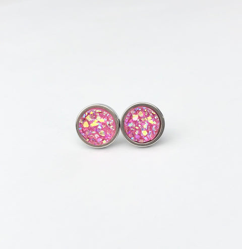 Bright Pink Druzy Stud 8mm Earrings