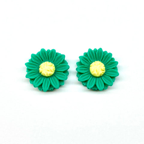 Green Sunflower Earrings