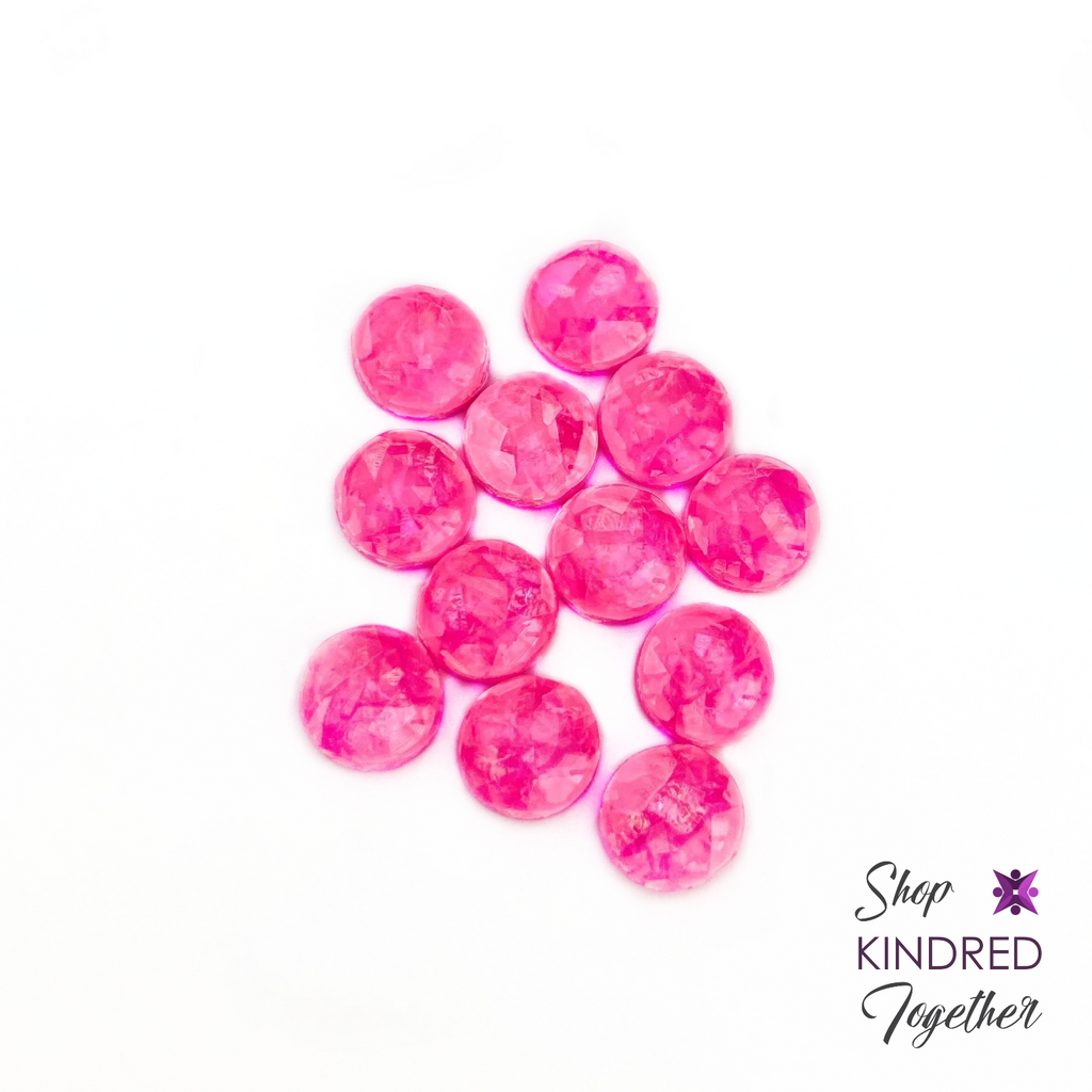 Hot Pink Opal Stud Earrings 8mm