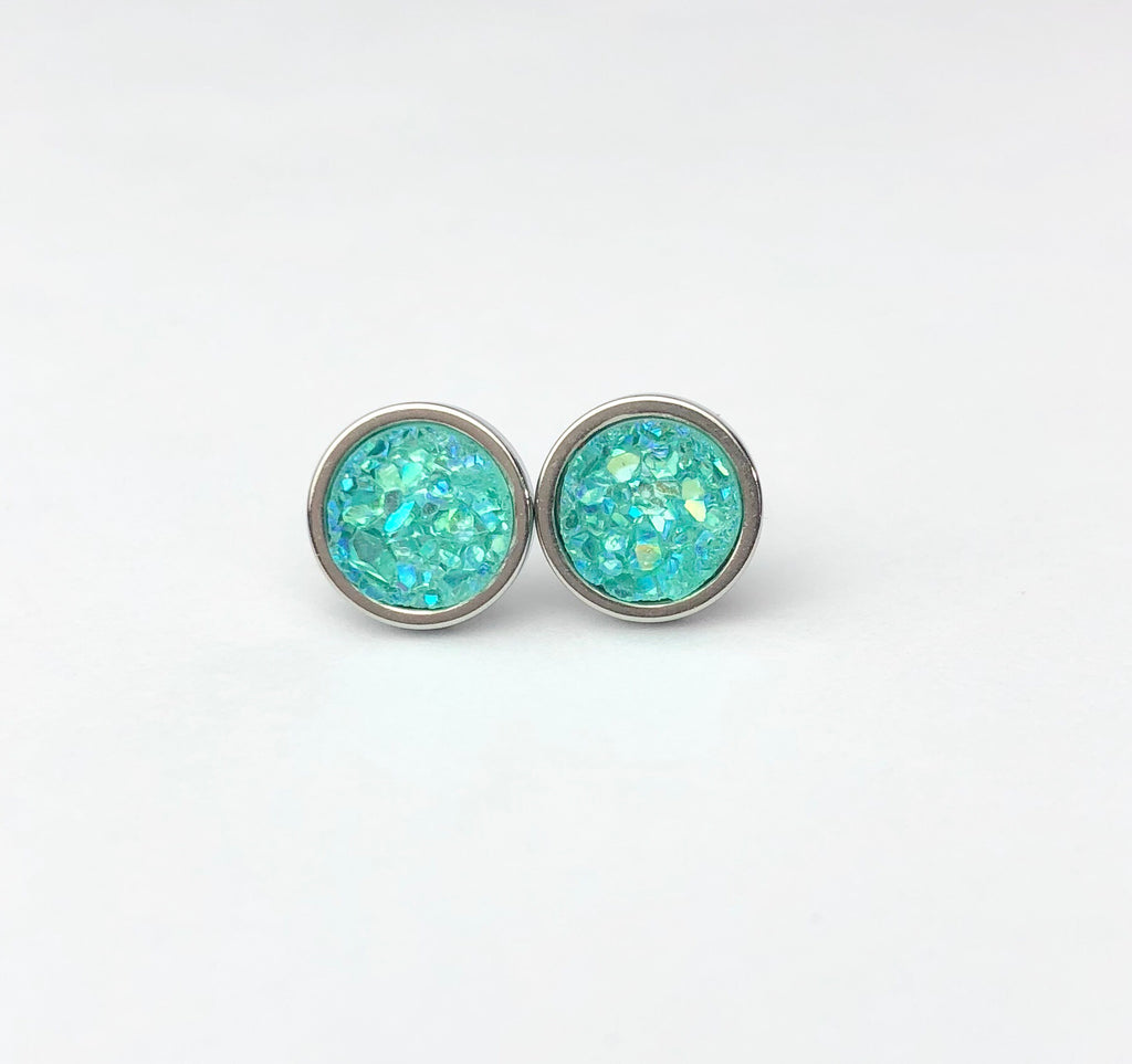 Sea Green Druzy Stud 8mm Earrings