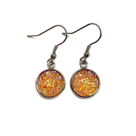 Amber Orange Druzy Drop Earrings