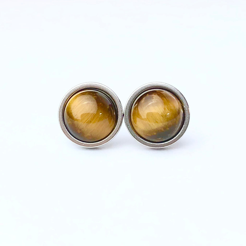 Tigers Eye Luxury Gemstone Stud Earrings 8mm