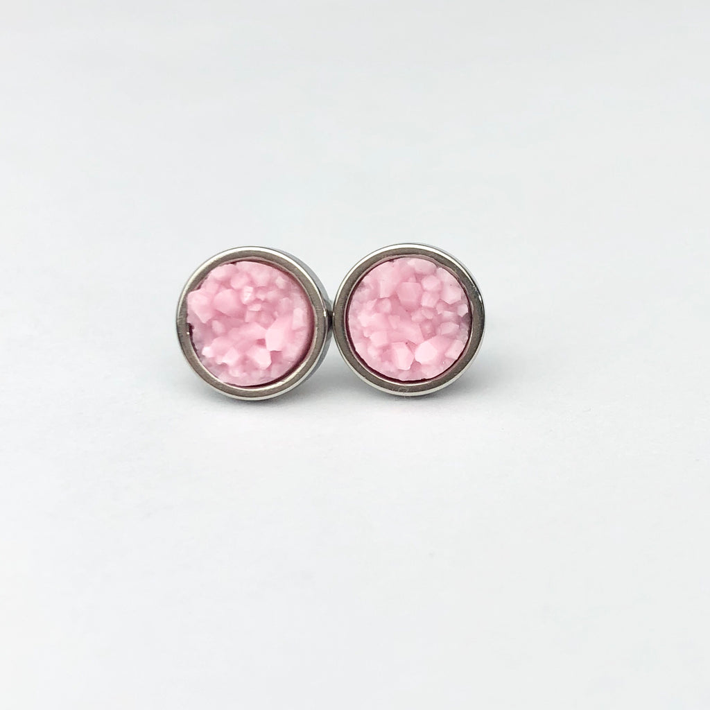 Baby Pink Druzy Stud 8mm Earrings