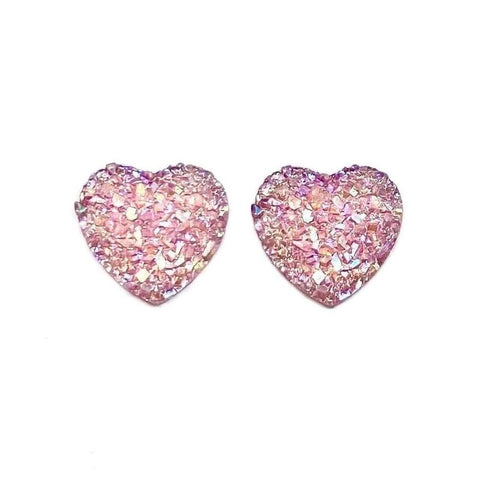 Pink Druzy Heart Earrings