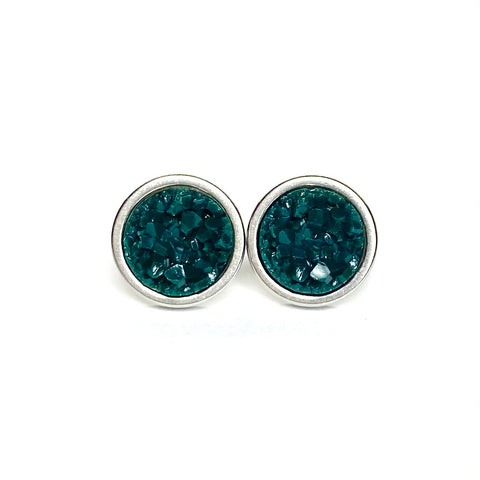 Deep Green Druzy Stud 8mm Earrings