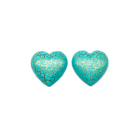 Aqua and Gold Foiled Heart Earrings