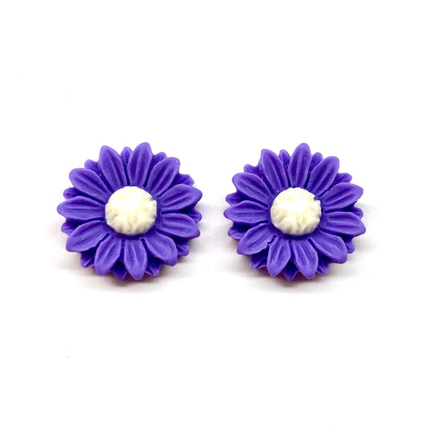 Purple Sunflower Earrings