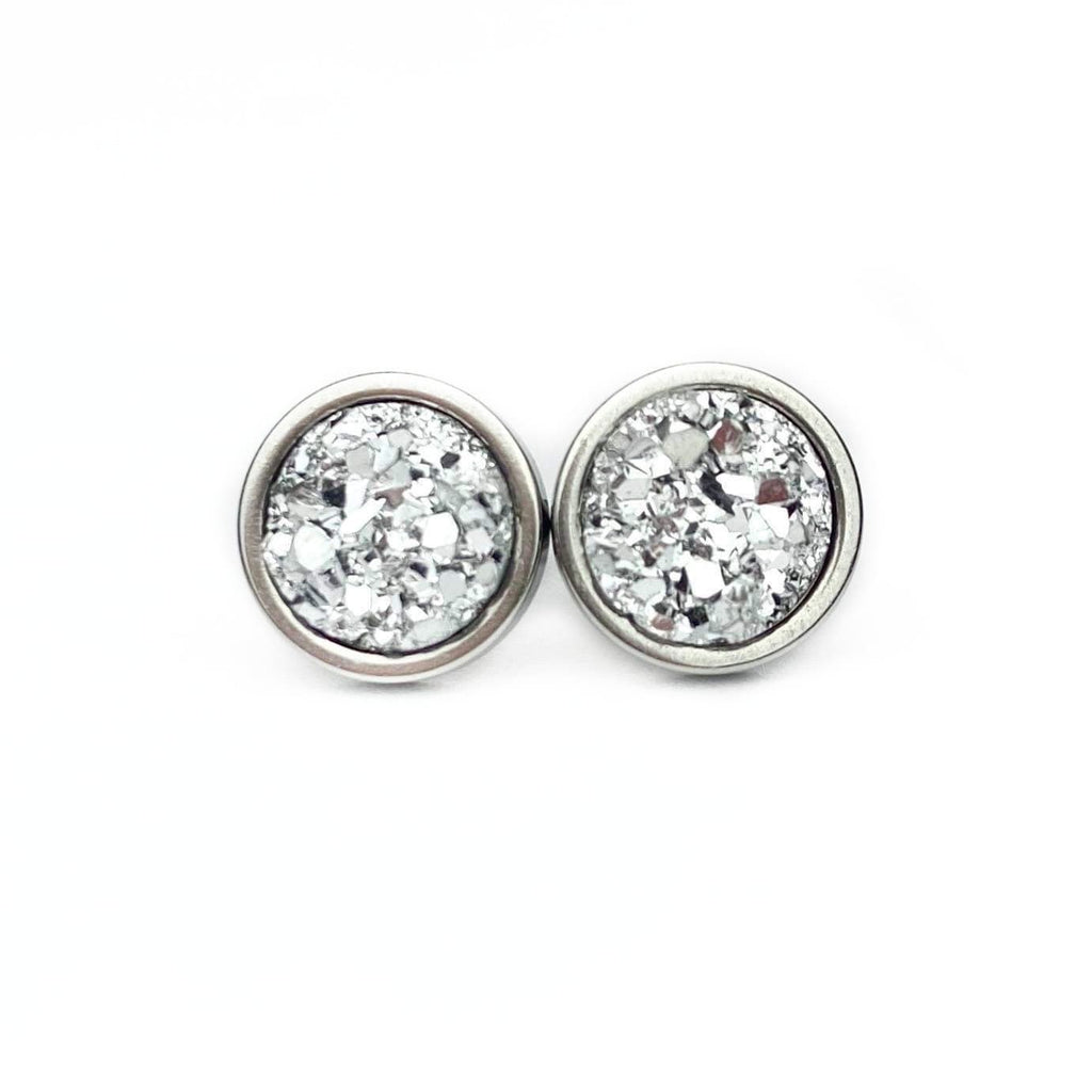 Liquid Silver Druzy Stud 8mm Earrings