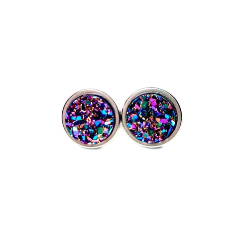 Mystic Purple Druzy Stud 8mm Earrings