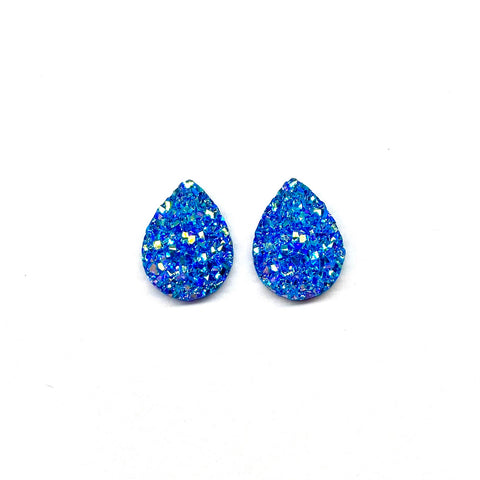 Snowflake Druzy Teardrop Mini Stud Earrings