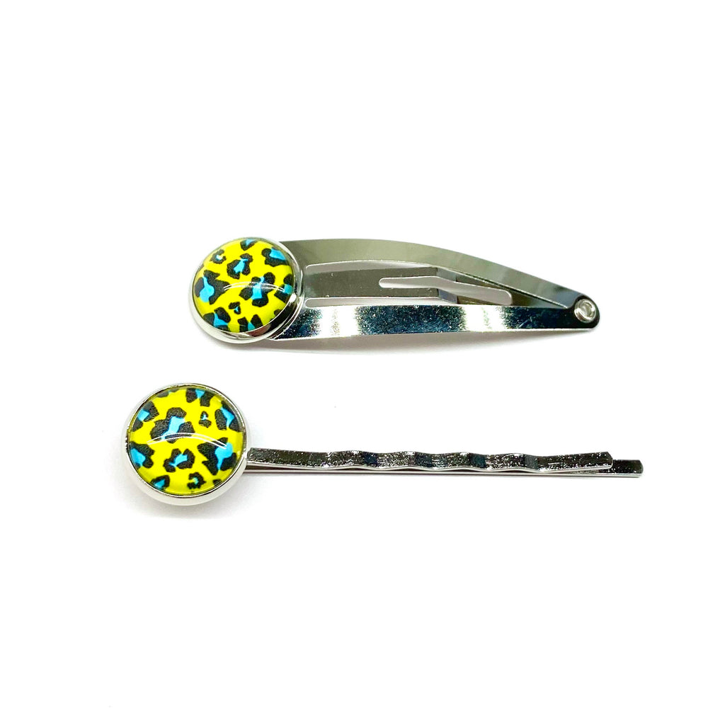 Blue & Yellow Leopard Snap Clip or Bobby Pin
