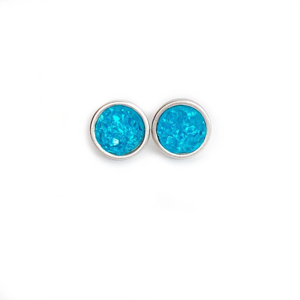 Caribbean Blue Druzy Stud 8mm Earrings