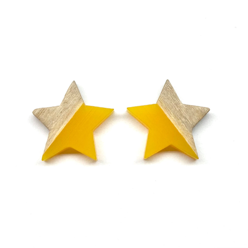 Golden Yellow Wood Star Stud Earrings