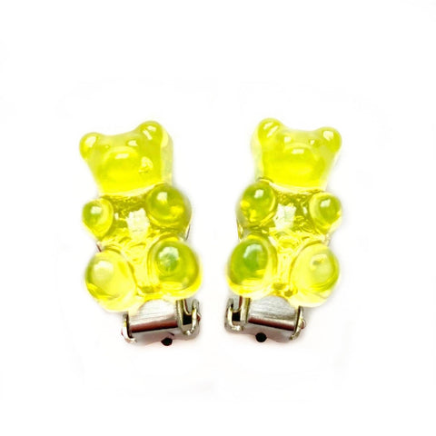 Yellow Gummy Bear Clip On Earrings