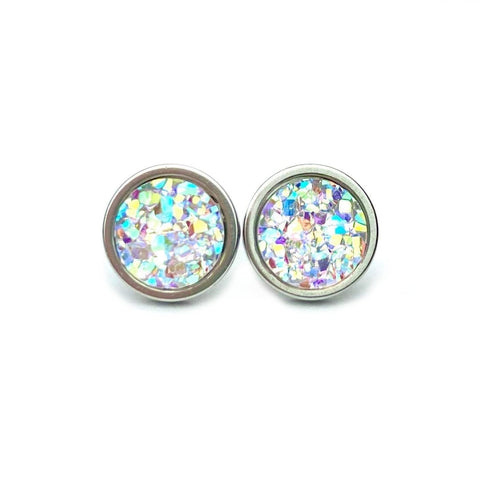 Shimmer Druzy Stud 8mm Earrings