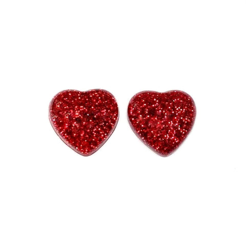 Red Glitter Heart Earrings