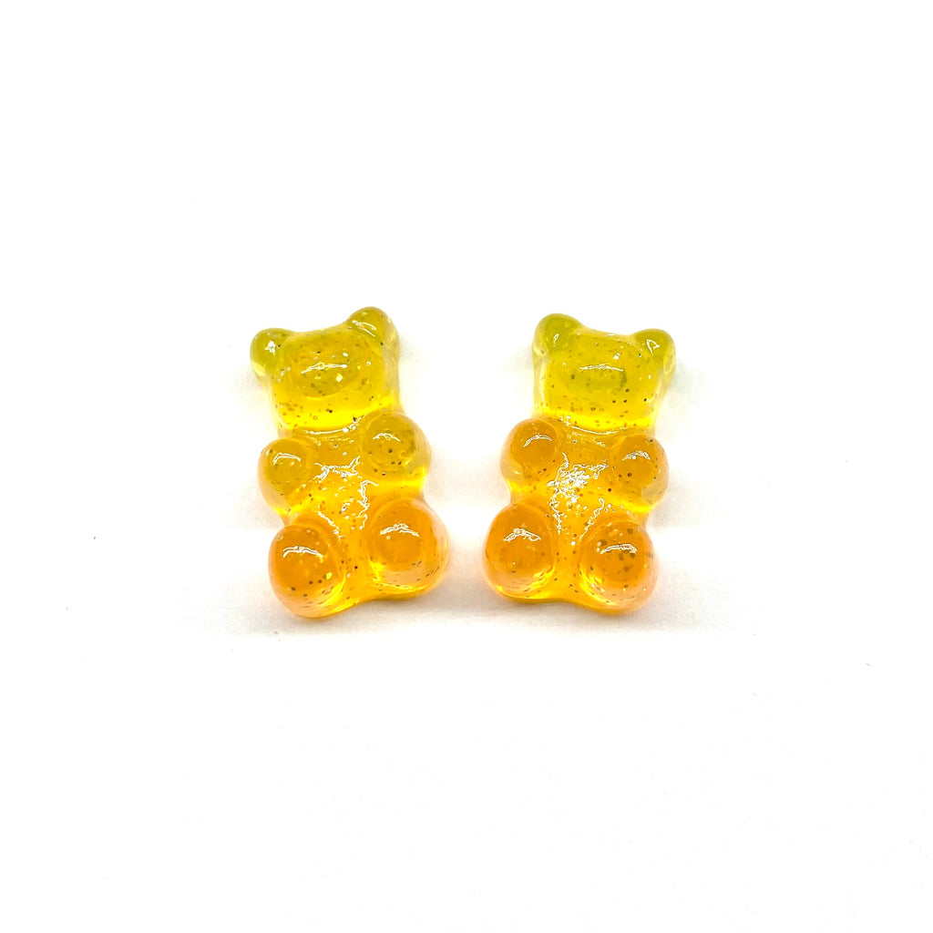 Yellow and Orange Glitter Gummy Bear Earrings