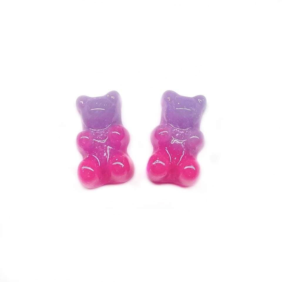 Periwinkle and Pink Glitter Gummy Bear Earrings
