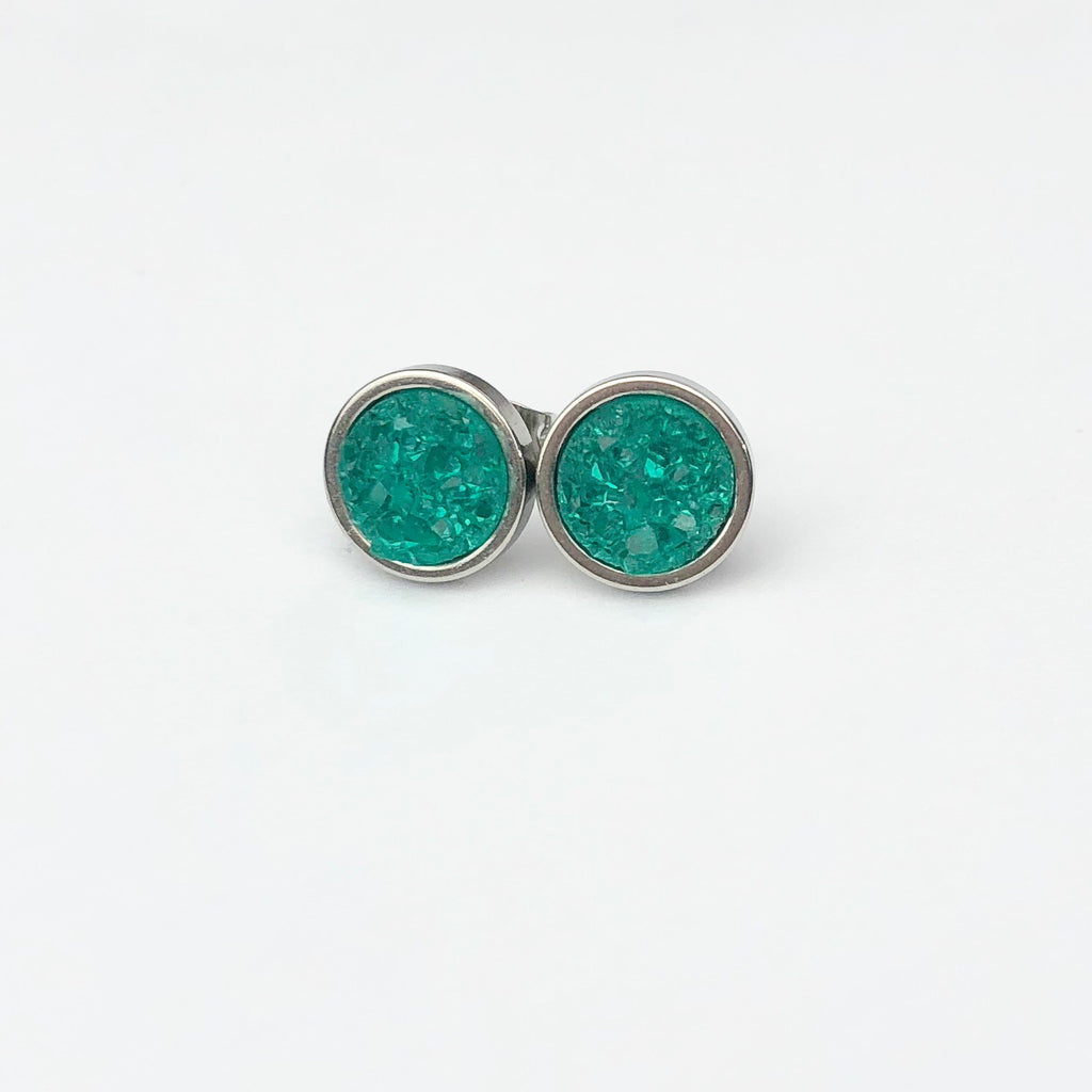 Teal Druzy Stud 8mm Earrings