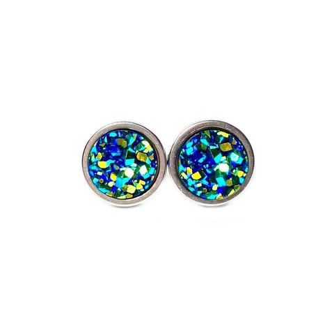 Mystic Green Druzy Stud 8mm Earrings