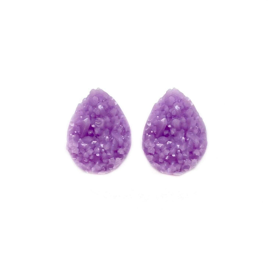 Orchid Druzy Teardrop Mini Stud Earrings
