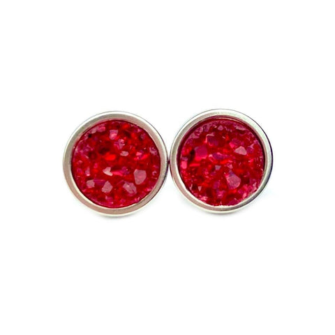 Deep Red Druzy Stud 8mm Earrings