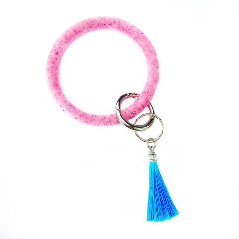 Pink Glitter Keychain Bangle with Tassel
