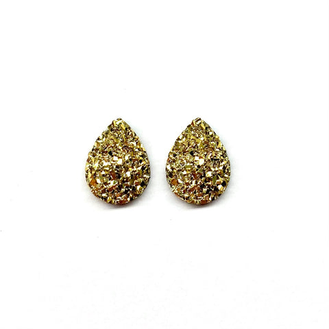 Gold Druzy Teardrop Mini Stud Earrings