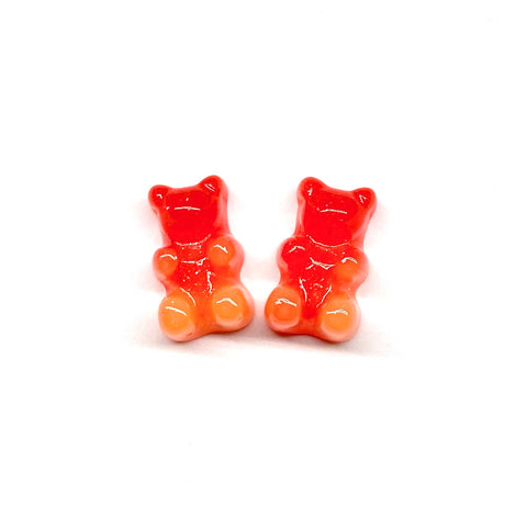 Red and Orange Glitter Gummy Bear Earrings
