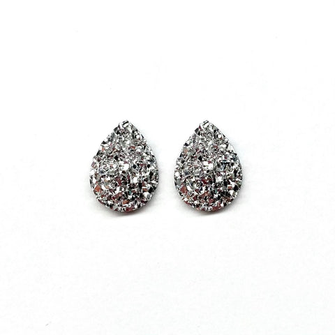 Silver Druzy Teardrop Mini Stud Earrings